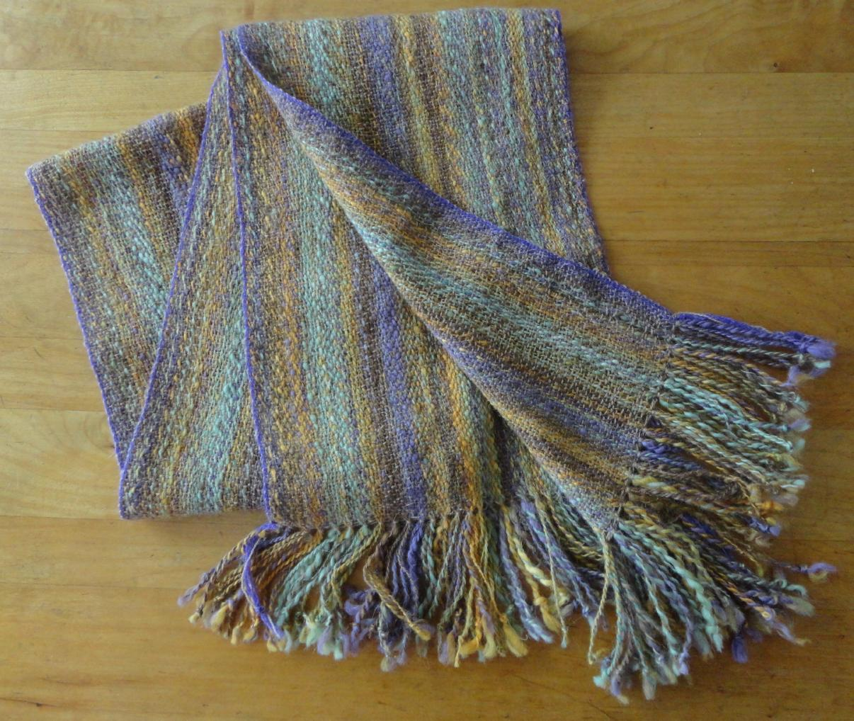 Mary\'s handspun, hand-painted scarf