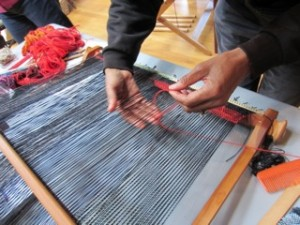 Cookie weaving in the Saori technique